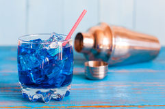 Cool refreshing blue curacao cocktail in pounchy Royalty Free Stock Photography
