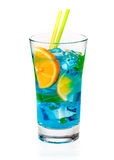 Cool refreshing curacao cocktail Royalty Free Stock Image