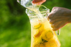 Cool refreshing drink on the background of nature Royalty Free Stock Images