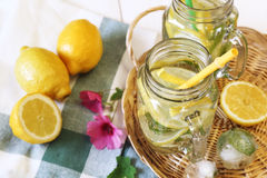 Cool refreshing drink: ice, lemon and mint Royalty Free Stock Images