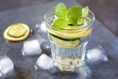Cool refreshing drink: water, lemon, cucumber and mint Royalty Free Stock Photos