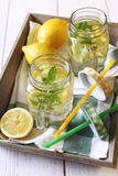 Cool refreshing drink: water, lemon and mint Royalty Free Stock Photography