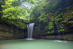 A cool refreshing waterfall pouring into an emerald pond hidden in a mysterious forest of lush greenery Royalty Free Stock Photography