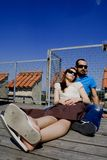 Cool and relaxed. Couple cool and relaxed with sunglasses Stock Photography