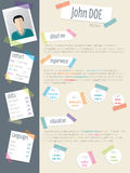 Cool resume cv with post its and color tapes Royalty Free Stock Photos