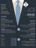 Cool resume cv template with business suit background Stock Photos