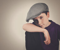 Cool Retro Boy with Hat on  Background Stock Image