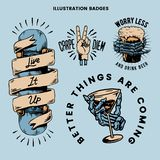 Cool retro motivational badges vector stock illustration