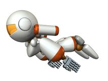 Cool robot flying in the sky. It is strongly brave. Stock Photo