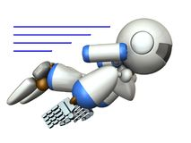 Cool robot flying in the sky. It is strongly brave. 3D illustration royalty free illustration