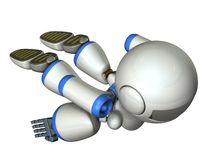 Cool robot flying in the sky. It is strongly brave. 3D illustration vector illustration