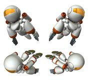Cool robot flying in the sky. It is strongly brave. 3D illustration. Artificial intelligence. A cute robot. A set of multiple images stock illustration