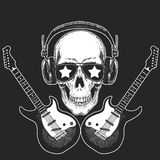 Cool rock star skull wearing disco glasses and headphones Retro music festival. Wings. Heavy metall emblem for concert. Rock music festival. Cool print for Stock Photos