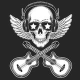 Cool rock star skull wearing disco glasses and headphones Retro music festival. Wings. Heavy metall emblem for concert. Rock music festival. Cool print for Stock Image