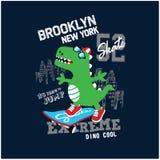 cool roller skater dinosaur vector illustration royalty free illustration