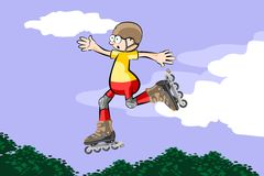 Cool Rollerblader boy is jumping high in air Stock Images