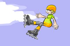 Cool Rollerblader boy is jumping high in air Royalty Free Stock Image