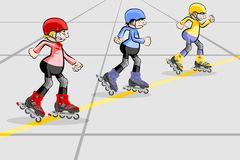 Cool Rollerblader boy in the skate rink Stock Photo