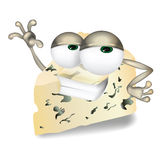 Cool Roquefort, Gorgonzola or Stilton vector cheese cartoon character laughing, cute and funny dairy product character Royalty Free Stock Photo