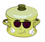 Cool saucepan cartoon Royalty Free Stock Image