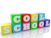 Cool school concept on toy cubes on white background. In background stock illustration