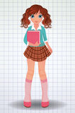 Cool school girl with book, vector. Illustration vector illustration