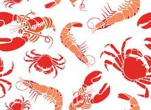 Cool Seafood Seamless Pattern Royalty Free Stock Photo