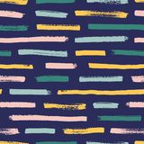 Cool seamless pattern with bright colored paint traces on dark background. Creative backdrop with horizontal brush stock illustration