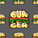 Cool seamless pattern with burgers. Vector illustration stock photography