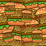 Cool seamless pattern with cartoon hamburgers. Vector illustrati Royalty Free Stock Image