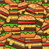 Cool seamless pattern with cartoon hamburgers. Vector illustration for design of packing fast food. royalty free illustration