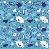 Cool seamless pattern with social media icons Stock Images