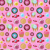 Cool seamless pattern sweets. Royalty Free Stock Images