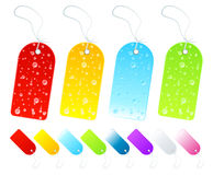 Cool seasons tags. Vector illustration of beautiful season tags and labels in various shiny gradients. Four with wet weather drop details Stock Image