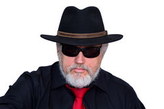 Cool senior with hat and necktie Stock Photo