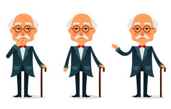 Cool senior man with walking stick Royalty Free Stock Photography