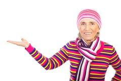 Cool senior woman making presentation stock photo