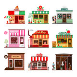 Cool set of detailed flat design city public buildings. Restaurants and shops facade icons. Pizza, flowers, books, candy shop, bakery, fruits and vegetables Royalty Free Stock Image