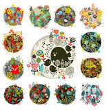 Cool set of round floral balls with birds and animals. Royalty Free Stock Image
