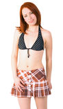 Cool girl in summer suit -bra and short skirt Stock Photos