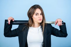 Cool and sexy. Sporty girl fighter. Sport equipment. successful woman. Street life. big game success. confident. Businesswoman. sexy woman with baseball bat stock photo