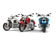 Cool shopper bikes in red, white and blue. 3D Illustration Royalty Free Stock Photos