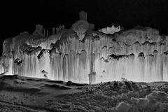 Wall of ice light up. Cool shot of light up ice at night Stock Photography