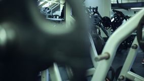 Cool shot of Weight at Gym and exercise machines stock video footage