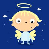 Cool simple angel cartoon - vector illustration stock illustration