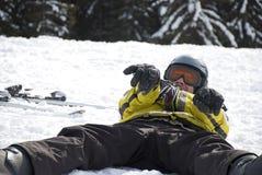 Cool skier enjoying the snow Royalty Free Stock Photos