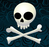 Cool skull. Skull with crossed bones on ornamental background Royalty Free Stock Image