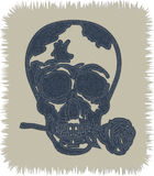 A cool skull tattoo as Blue Jeans Element. skull with rose in the mouth. Vector Patch, Fragments. Royalty Free Stock Photos