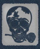 A cool skull tattoo as Blue Jeans Element. skull with rose in the mouth. Vector Patch, Fragments. Stock Photos