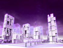 Cool skyscraper city as violet colored wallpaper Royalty Free Stock Photos